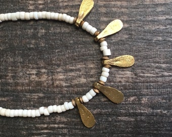 Tribal Necklace,Ethnic Beaded Necklace,Ethnic Choker,Antique Bead Necklace,White and Gold Necklace,Tribal Jewelry,Trade Bead Necklace,Indian