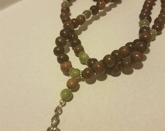 Jade & Wood Meditation Mala necklace