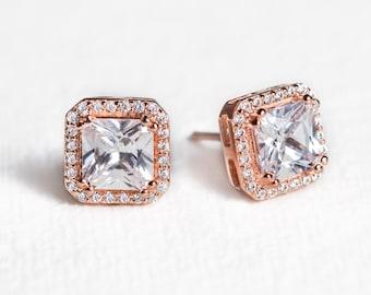 Cubic Zirconia Studs, 14K Rose Gold Bridal Studs, Rose Gold Studs, Bridal Studs, Wedding Studs, Wedding Earrings, Bridal Earrings, E429-RG