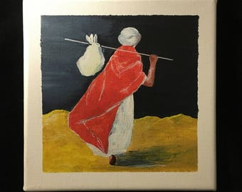 "Original acrylic painting on canvas frame: ""Departure to the desert"""