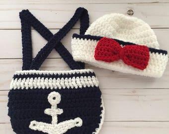 Newborn Sailor Set, crochet sailor hat, nautical baby photo prop, sailor photo prop, Baby Sailor, Nautical Baby Shower,  Navy Baby Outfit
