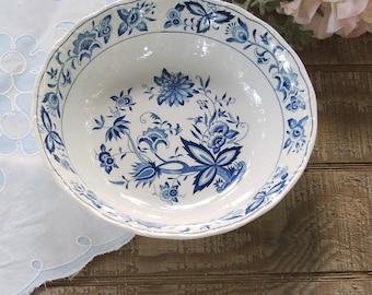 "Vintage Nikko Ironstone 8"" Bowl Blue Bonnet Pattern Serving Bowl"