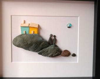 Couple pebble art, anniversary gift, coastal decor,mother's day gift, engagement gift, unframed 8 by 10, by Jenny Love