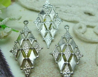 10  Pcs Silver Plated Filigree Charms.15 X 32 MM