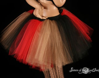 Royalty Monster tutu skirt Black red gold queen halloween costume cosplay dance wear party mad hatter -You Choose Size - Sisters of the Moon