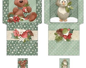 Digital Printable Tea Wrappers - Woodland Critters - Winter Tea Wrapper - Holiday Tea - Tea Bag Envelope