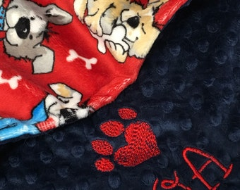Personalized Paw Print Blanket, Red Paw Print Dog Blanket, Paw Print Puppy Blanket, Personalized Dog Blanket, Small Size