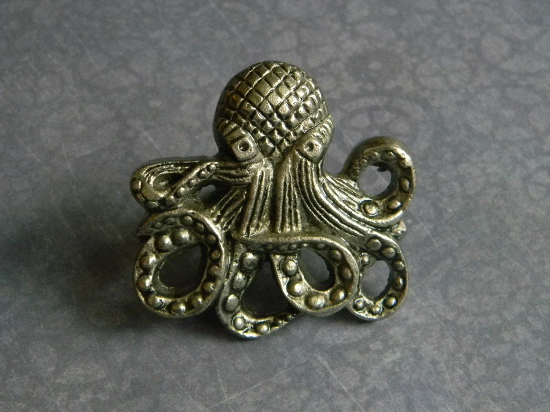 Cast Iron Octopus Knob   Kraken Door Knob   Cast Octopus Cabinet Knob Or  Drawer Knob For Bureau   Nautical Style Knob