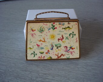 Suitcase Compact by A.S. Brown 1950s animals and plants colourful design