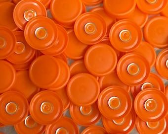 Medicine  flip off vial caps for crafts- 13mm tangerine orange 100 pcs