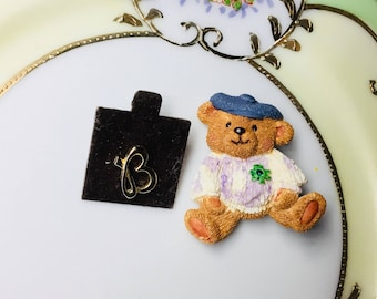 Vintage St. Patrick's Day Irish Teddy Bear with Shamrock Pin and Gold toned B pin, Gift Boxed