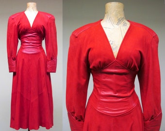 Vintage 1980s Dress / 80s Red Suede North Beach Leather Cinch Waist Dress / Extra Small
