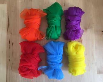Set of Six Rainbow Play Silks 70cm x 70cm