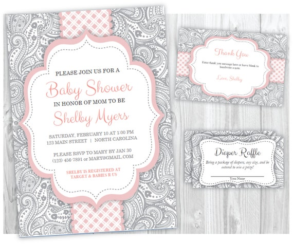 Pink and Gray Girl Baby Shower Invitation, Thank You Card and Diaper Raffle Ticket Printables, Baby Shower Invite