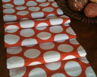 Orange Polka Dot Lined Table Runner - Ready to ship