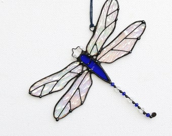 Stained Glass Suncatcher Dragonfly iridescent glass Gift Home decor