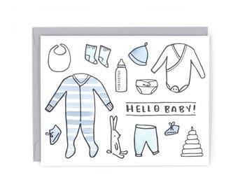 Hello Baby Letterpress Card - Hand Watercolored