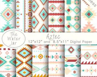 Aztec Digital Paper, Summer Digital Paper Pack, Aztec Patterns, Scrapbooking paper pack, Commercial Use Aztec Tribal Patterns