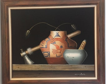 """26""""x30"""" Native American Sand Painting, framed, signed artist Folio - Vintage ca. 1970's"""