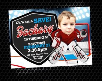 Hockey Birthday Invitation - Goalie