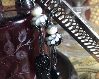 Artisan Lampwork and Czech Glass on Ox Sterling Hooks Artisan Jewelry Ooak GLAMOUR GAL