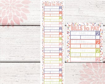 Monthly Bill Tracker Stickers | Garden Color Palette | LB134 |