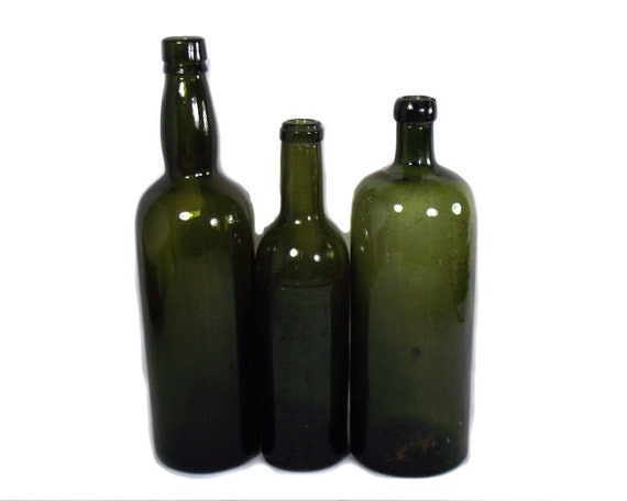 English Antique Set of Green Glass Wine Bottles