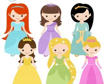 Princess Clipart Set - clip art set of princesses, cute princess clipart, princess - personal use, small commercial use, instant download