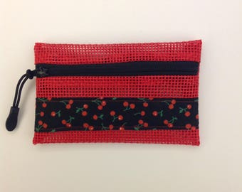 Coin Pouch Case Purse Red Vinyl Mesh Cherries