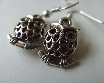 Sweet, silver plated, puffed owl, 3d, small, owl earrings, by NewellsJewels on etsy