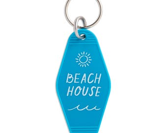 Beach House Keychain, Motel Key Tag, Keyring, Key Fob, Gift, Stocking Stuffer, KEY40