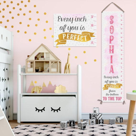Growth Chart in Pink and Gold - Pink and Gold Baby, Pink and Gold First Birthday, Growth Chart Girl - GC8000G