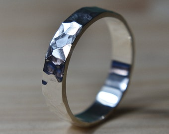 Hammered Sterling Silver Ring, Hammered Wedding Ring, Hammered Silver Band, Hammered Wedding Band for Man, Mens Hammered Wedding Band