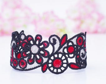 Lace cuff bracelets, Embroidery lace, Modern embroidery, Black and red lace, Flower lace, Machine embroidery ,Lace jewelry, Boho jewelry