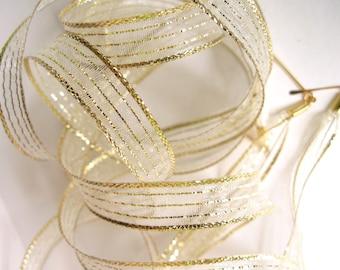 "THE SHOELACES SHOP-Metallic Gold Ribbon Shoelaces, Gold Shoelaces, Wedding Shoelaces, Sheer Shoelaces, Metallic Shoe Laces, ""Gold Rush"""