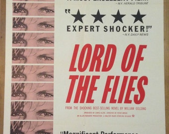 Lord of the Flies 1963 Original US One Sheet Movie Film Poster Starring James Aubrey, Tom Chapin & Hugh Edwards. A William Golding Novel.
