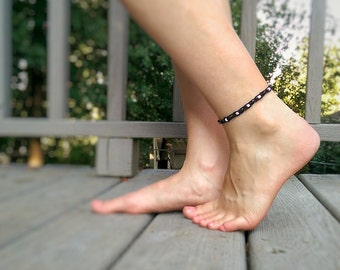 Black Boho Hemp Anklet - Thin Beaded Ankle Bracelet