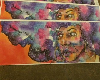 PRINT Mixed Media Painting Girl with the Galaxy in her hair