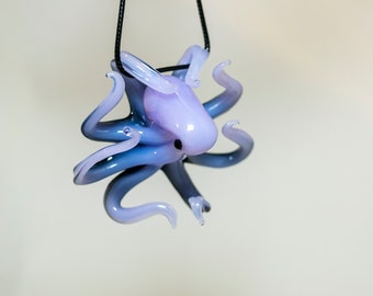 Glass Octopus Sculpture, Milky Lavender Color with Black Backing