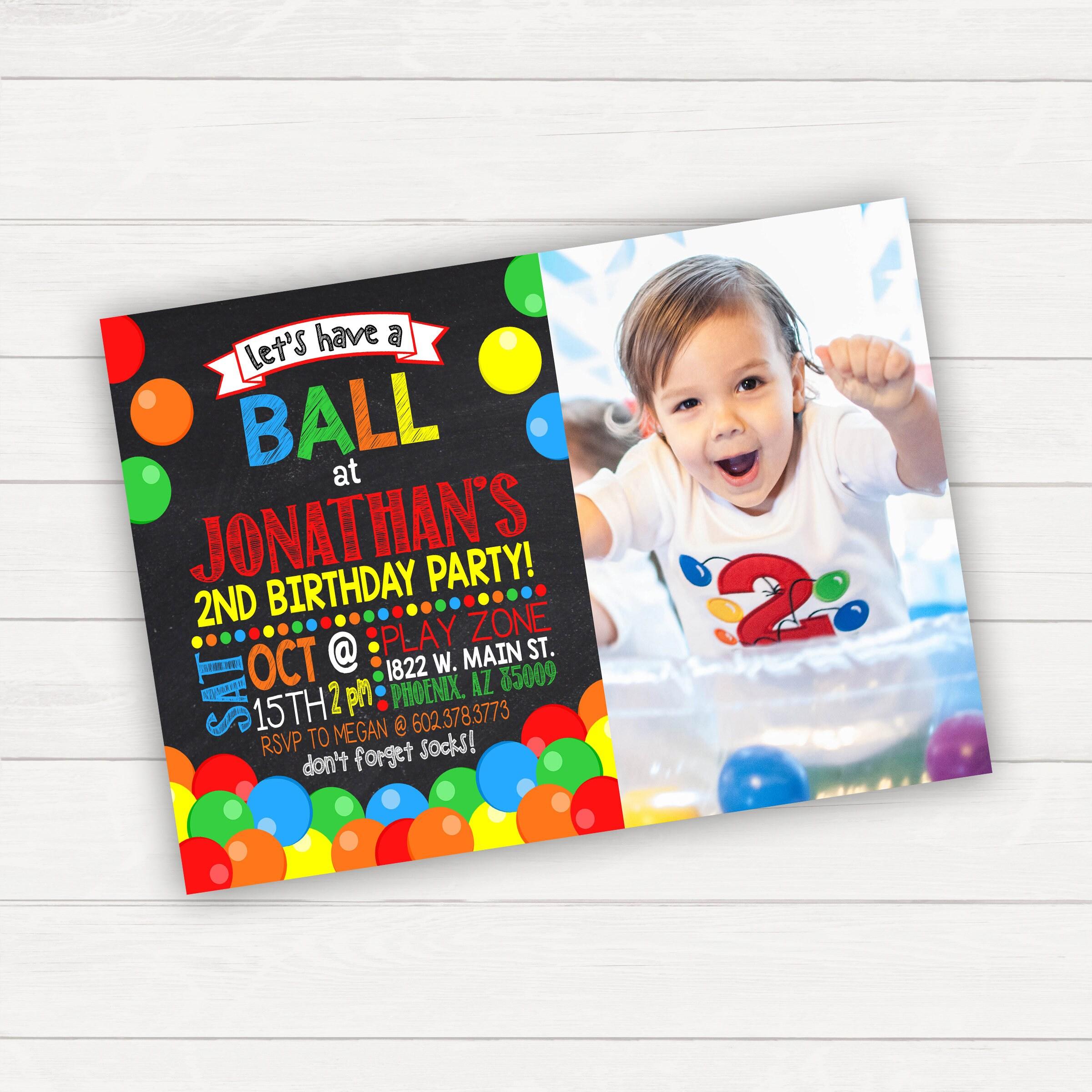 Ball Pit Birthday Invitation Bounce Birthday Kids Birthday