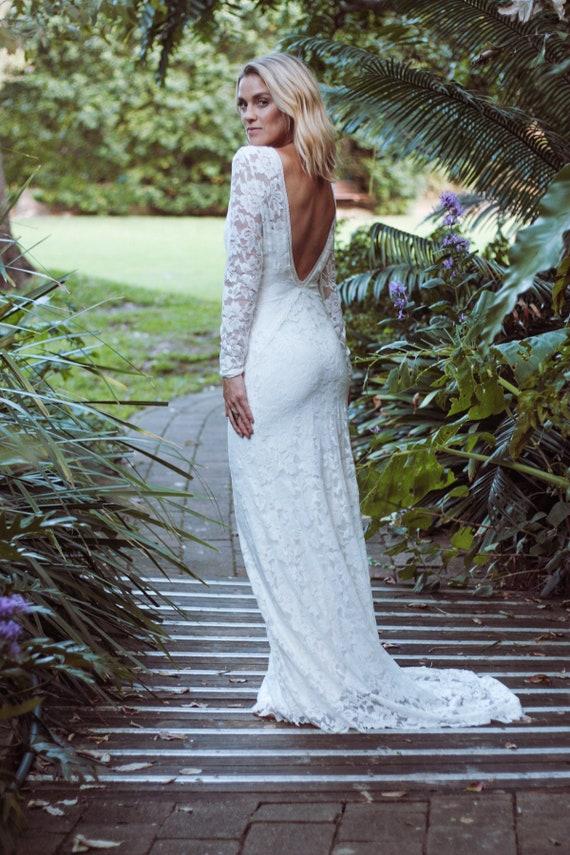 Niedrige zurück Hochzeitskleid V-Hals-Brautkleid Langarm