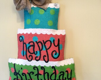 Happy Birthday  Burlap Door Hanger