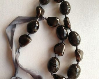 Necklace - very chunky ceramic pebbles necklace