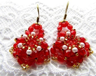 Red Earrings Embroidery Earrings Red Beaded Earrings Beadwork Earrings Red Gold Earrings Handmade Jewelry Ready to ship