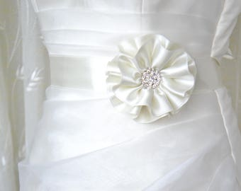 Wedding sash belt, Floral belt, Wedding belt, Ivory blush sashes belts, Wedding dress sash, Flower bridal belt