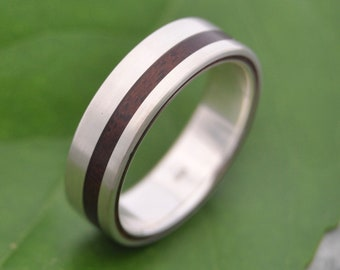Equinox Walnut Wood Ring with Recycled Sterling - ecofriendly wood wedding band, wood wedding ring, mens wood ring, wood wedding band set