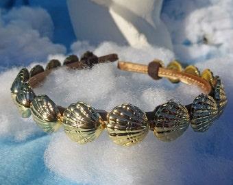 Gold seashell crown, gold seashell headband, adult headband woman, gold headband, seashell headpiece, seashell bridal, seashell women crown