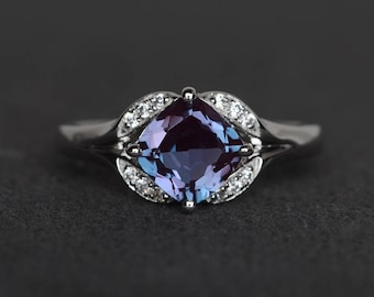 lab alexandrite ring promise ring cushion cut gemstone ring sterling silver color changing June birthstone ring