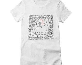 Hello, Do You Like My Dinosaur? - Women's fitted T-shirt / Tee - white - heather grey - cancun - natural - Women's Apparel