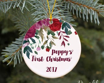 Baby Girl's 1st Christmas Baby's First Christmas Ornament 2017 Personalized Christmas Ornament Baby Shower Gift Holiday Ornament Floral Rose